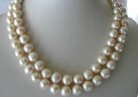 """Shitou 00979 34 """"10-11mm redondo blanco de agua dulce collar de perlas"""