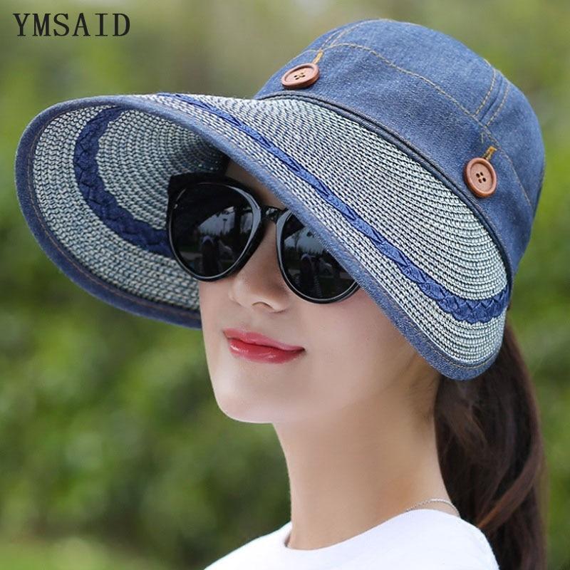 Ymsaid 2018 Hats Women Wide Large Brim Floppy Summer Beach Sun Hat Straw Hat Button Cap Summer Hats Female Anti-uv Visor Cap