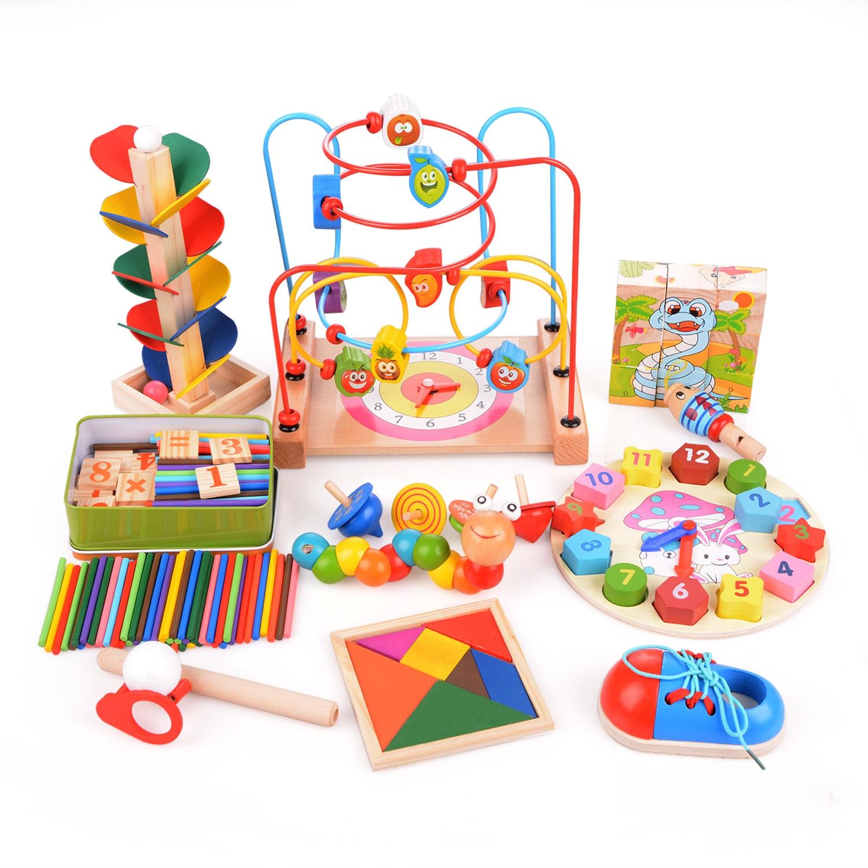 14 teil/satz Montessori Multifunktionale Mathematik Betrieb und Zeichnung Box Für 3 jahre Kinder Frühen Bildungs Lernen Holz Spielzeug