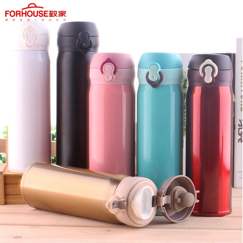 500ml botella de agua botella de deporte de vacío frascos 304 caliente de acero inoxidable taza para acampar corriendo uso del coche termo