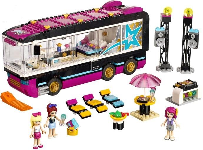 Bela 684 Uds 10407 amigos Pop Star Tour autobús de bloques de construcción Lepining 41106 figuras ladrillos juguetes para niños