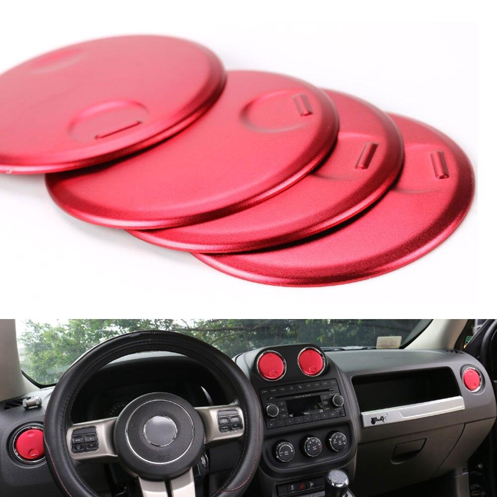 Consola de instrumentos de tablero de instrumentos cubierta de salida de ventilación de aire AC decoración redonda ajuste para Jeep Compass Patriot 2010-2016 estilo de coche