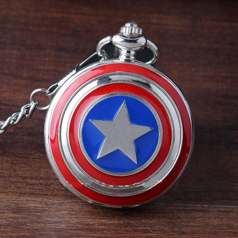 Nueva moda de plata Super héroe Capitán América icono de cuarzo reloj de bolsillo COLLAR COLGANTE Fob cadena para hombres y mujeres niños regalos