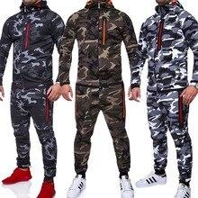 ZOGAA zestawy dla mężczyzn dres 2019 kurtka do kamuflażu nadruk moro dres dopasowanie odzież sportowa płaszcz z kapturem spodnie Sweatsuit Military