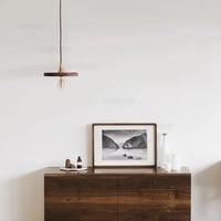 walnut wood pendant lamp handmade engraved wooden shade brass suspension light nordic retro lamp fixture bedroom hotel bedside