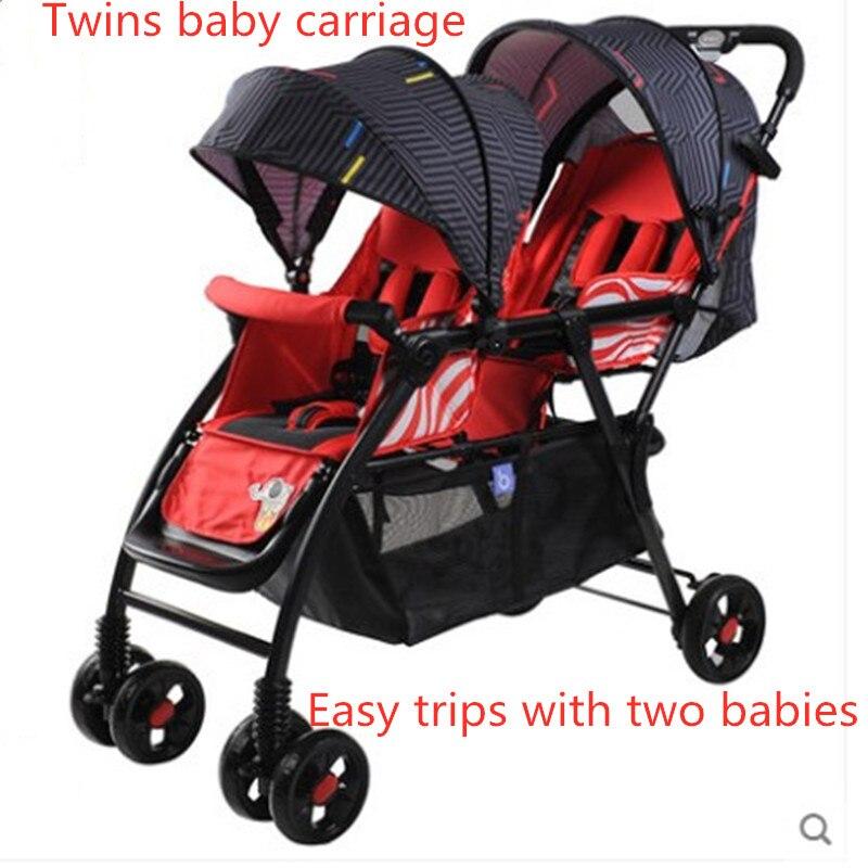 التوأم الطفل عربة يمكن استخدامها بمثابة مستلق ، طوي ، المحمولة اثنين الجنين عربة و مزدوجة الوفاض عربة.