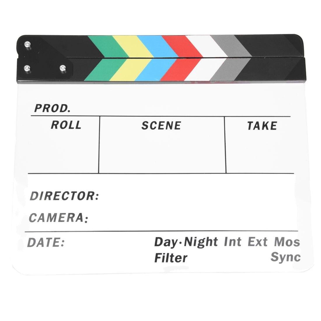 Acrílico genérico colorido clapperboard tv filme ardósia corte papel jogar prop hollywood