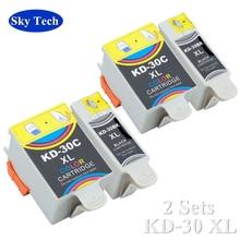 2 juegos de cartucho Compatible para KD30XL KD-30XL, de Kodak ESP C110/310/315 Kodak Oficina 2150/2170 Kodak HERO 3,1/5,1