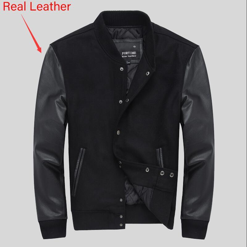 School College Team Quilted Varsity Jacket Men Leather Sleeves Wool Baseball Letterman Coat Black Color