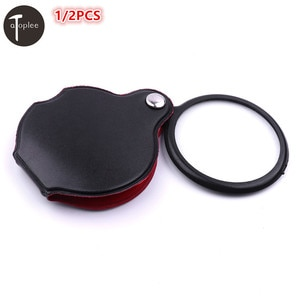 """1/2PCS Mini 5X 2"""" Super Thin Folding Magnifier Magnifying Glass Padded Pouch 2"""" Polished Glass Lens For Reading Tools"""