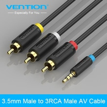 Convenio Jack de 3,5mm a 3 RCA macho convertidor de Audio Video AV Cable de altavoz