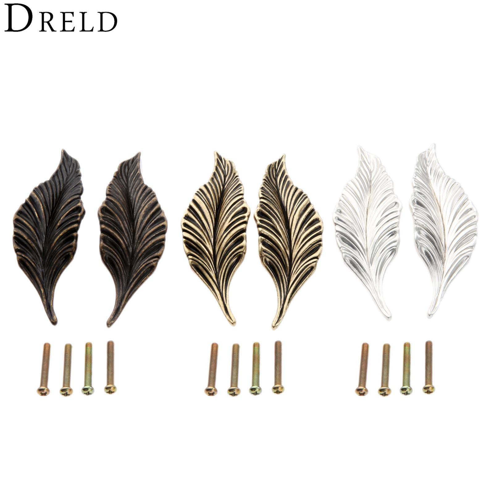 DRELD 2Pcs Novelty Leaves Furniture Handles Cabinet Knobs and Handles Drawer Wardrobe Door Kitchen Handle Furniture Hardware