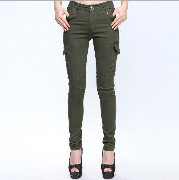 Calças de carga de algodão feminino magro exército verde pantalon femme feminino esportes ao ar livre calças magras militar multi bolso