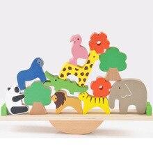 Bébé jouets mignon forêt animaux balançoire blocs de construction en bois Balance bois jouets pour enfants créatif assemblage jouets éducatifs