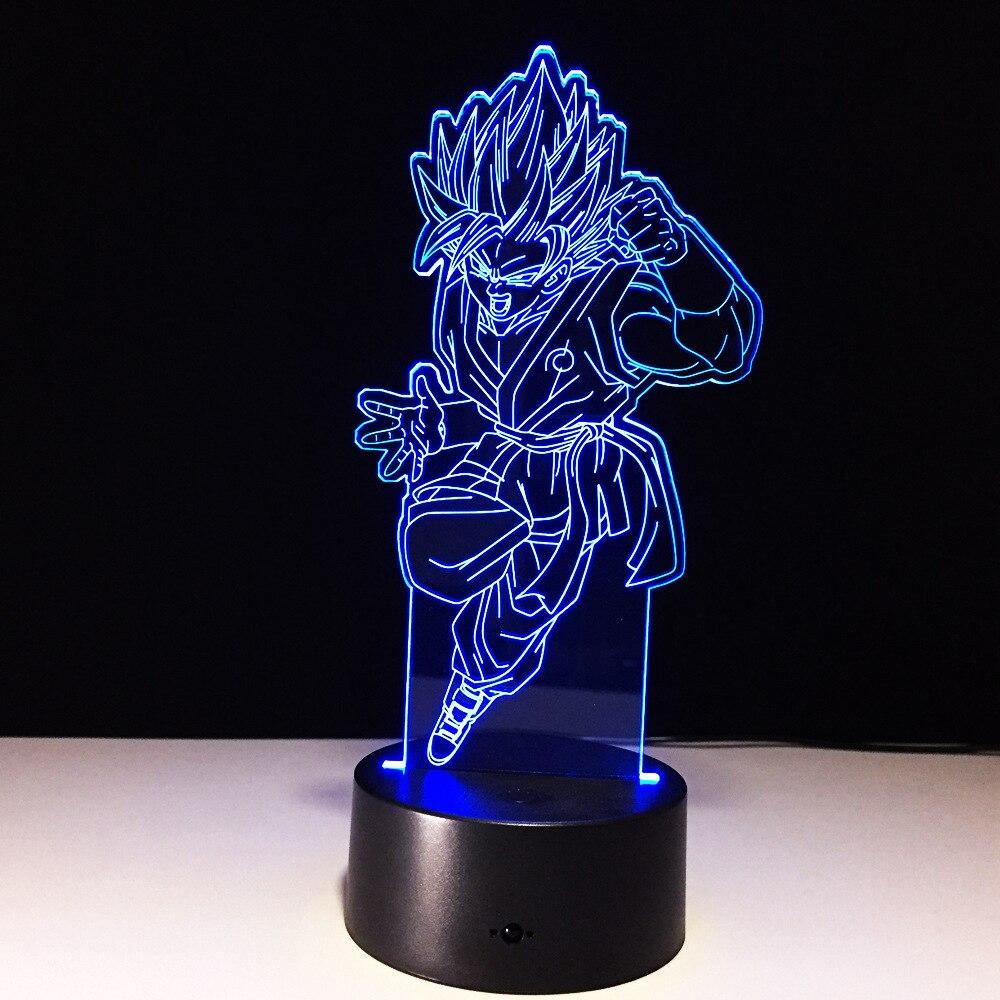 Dragon Ball WuKong 7 цветов лампа 3d визуальные Светодиодные ночные светильники для детей сенсорный Usb стол Lampara Lampe детский спальный ночник