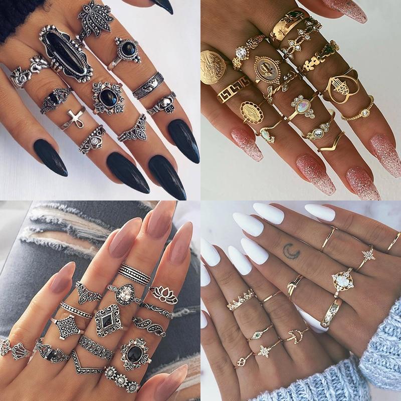 9 Design Boho Vintage Gold Star Midi Moon Rings Set For Women Opal Crystal Midi Finger Ring 2019 Female Bohemian Jewelry Gifts