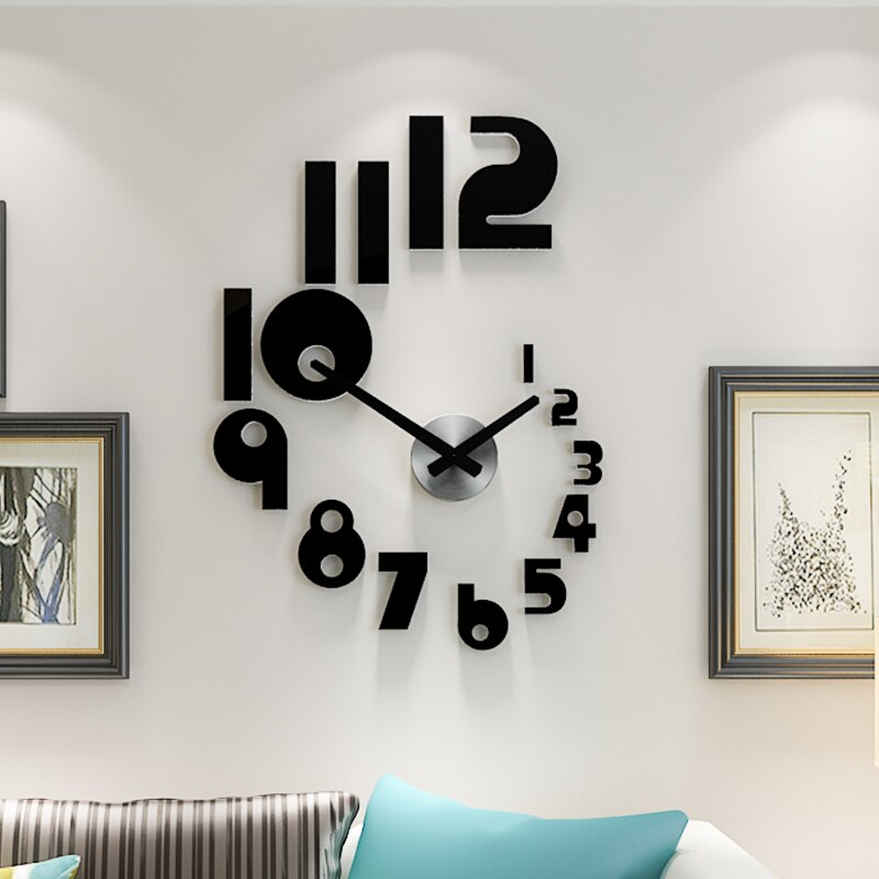 Hot Sale Creative DIY Wall Clock Watch Modern Design watch for Living Room Home Decor Acrylic clock Wall Mirror Stickers Free