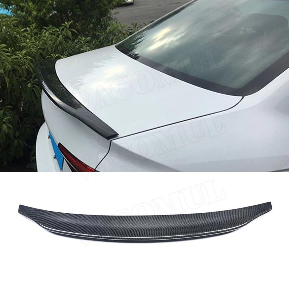Para a4 spoiler traseiro de fibra de carbono boot asas pato para audi a4 b8 b8.5 b9 sedan 2009 - 2018 c estilo etiqueta do carro