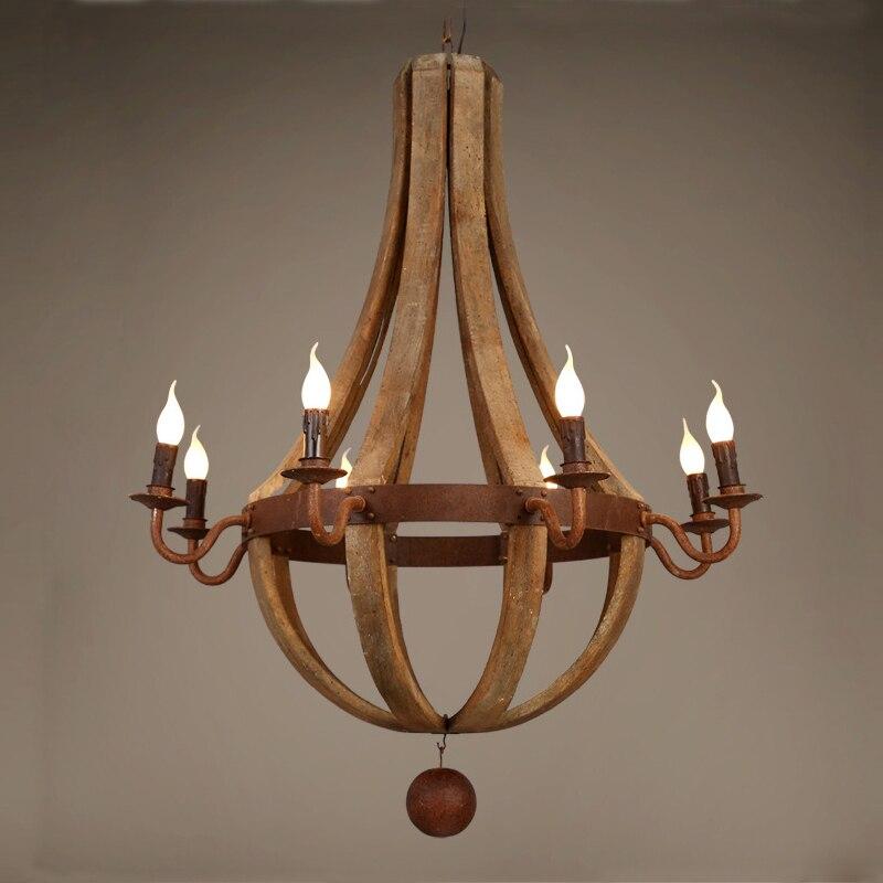 Vintage Wood Chandelier Bois Lustres Pendant Chandeliers Lighting For Living Room Kitchen Bedroom Retro Indoor Light Fixtures