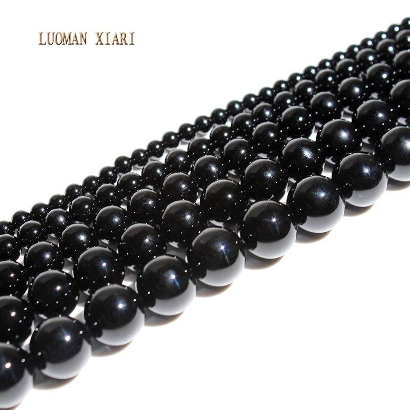 Cuentas de piedra de ágata negra redonda Natural luoman xiari para fabricación de joyería DIY, pulsera, collar, Material 4/6/8/10mm, hebra de 15