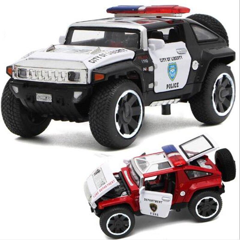 1/32 весы Hummer Police литые автомобили, модели автомобилей, игрушки с открывающимися дверцами, функция вытяжки, легкая музыка для мальчиков, подарки