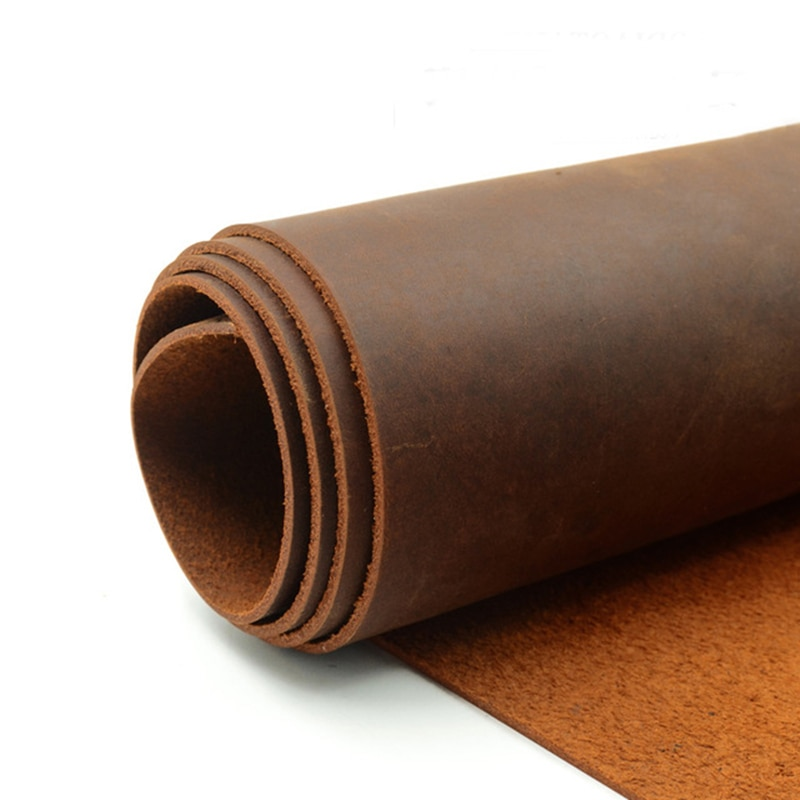 Dark Orange Natural Cow Skin Leather Crazy Horse Leather Color Genuine Leather for Diy Leather Craft