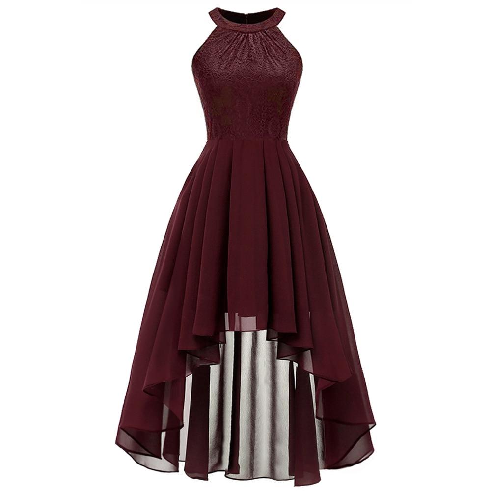 2019 Elegant Halter Ladies Lace Chiffon Dress Women Summer Sleeveless Irregular High Low Burgundy Navy Blue Evening Party Dress