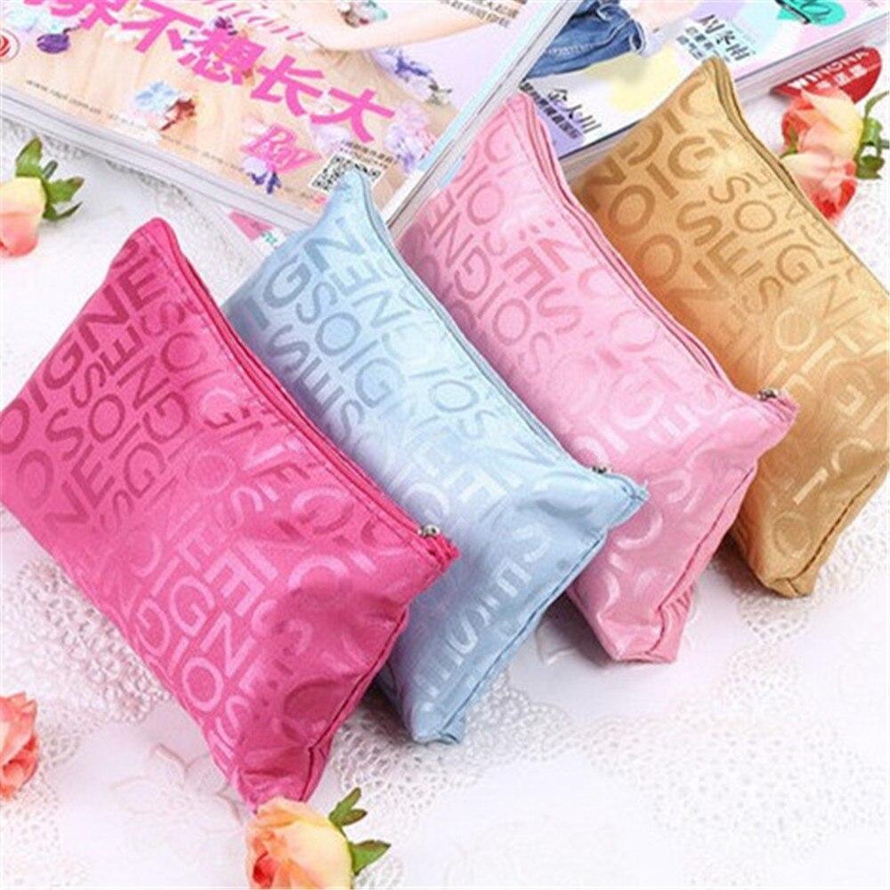 Bolsas de maquillaje con letras Multicolor, bonitas bolsas cosméticas para viaje, bolsa de mujer, bolsa de aseo colgante, bolsa de cosméticos para mujer
