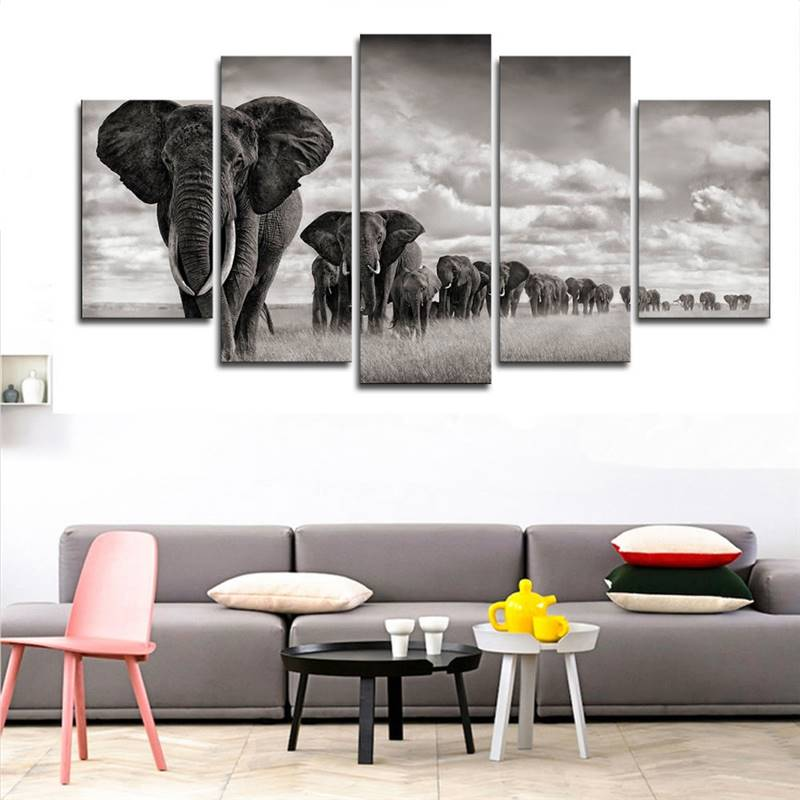 5 paneles de lienzo de alta calidad pintura de elefante de pared de arte de la pared cuadro moderno de decoración del hogar imágenes para la sala de estar