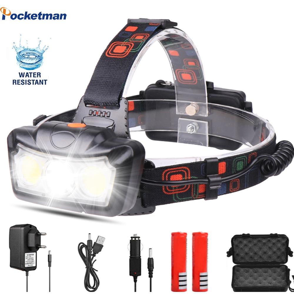 Faro a LED Super luminoso T6 COB LED faro lampada frontale torcia torcia Lanterna lampada frontale uso 2*18650 batteria per campeggio