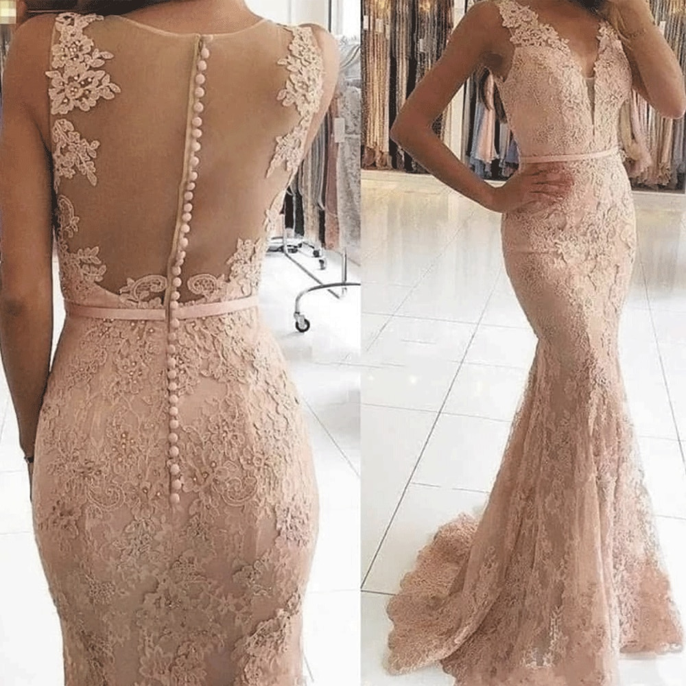 SuperKimJo Mermaid Evening Dresses Long 2020 Lace Applique Dusty Pink Sleeveless Elegant Evening Gown Vestido Longo Festa