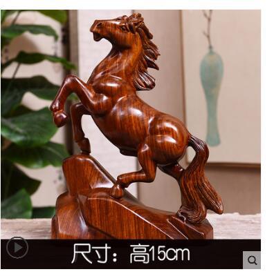 Main bois sculpture cheval pour le zodiaque chinois fleurs jaunes poire meubles en bois massif fortune bureau palissandre artisanat succe