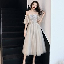Strass Prachtige Vrouwen Mesh Jurk Elegante Bruid Bruiloft Cheongsam Flare Mouw Retro Gown Off Shoulder Robe De Soiree