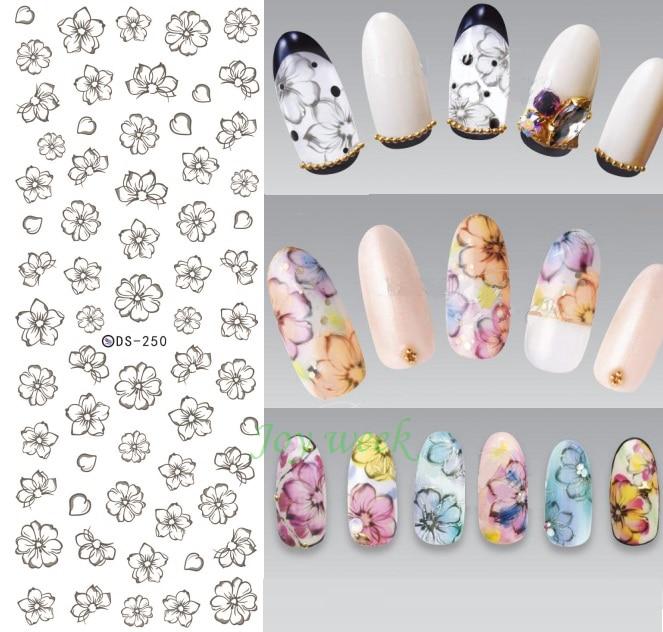 Водная наклейка для дизайна ногтей все украшения слайдеры эскиз лепесток цветок клейкие ногти дизайн наклейки аксессуары для маникюра Фол...