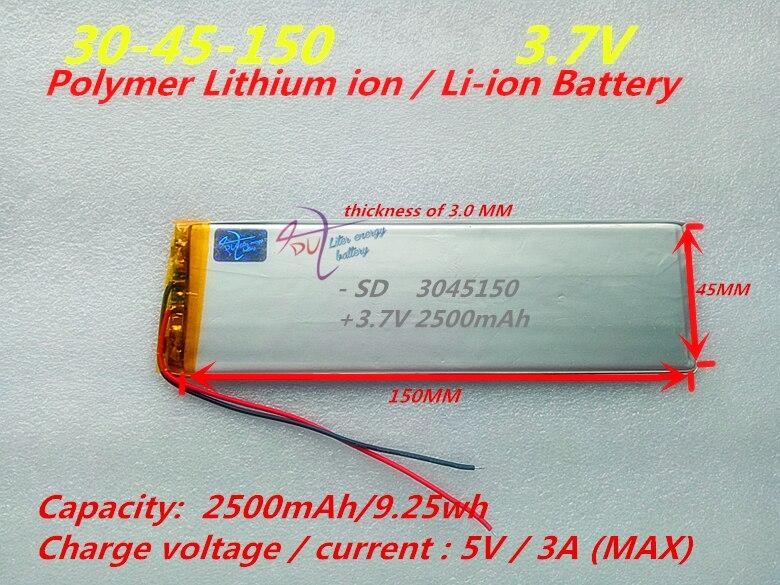 3045150 PLIB 3,7 V, 2500 mAH, (batería de iones de litio/polímero de litio) para tableta pc, potencia