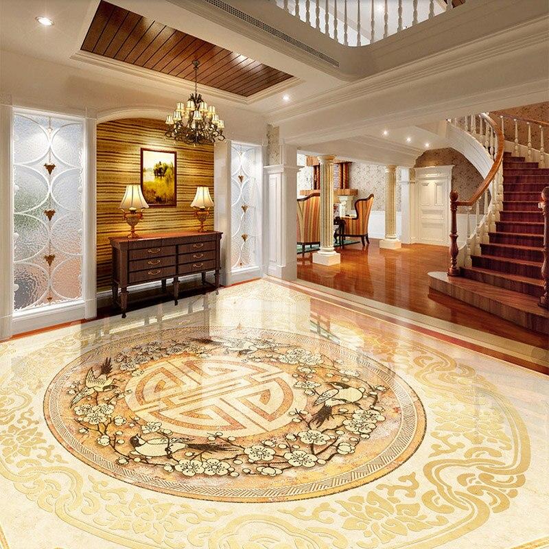 Papel tapiz personalizado con azulejos 3D para suelo, papel tapiz de estilo europeo con mármol de lujo, papel para pared adhesivo de, Mural de vinilo de PVC para sala de estar y Hotel
