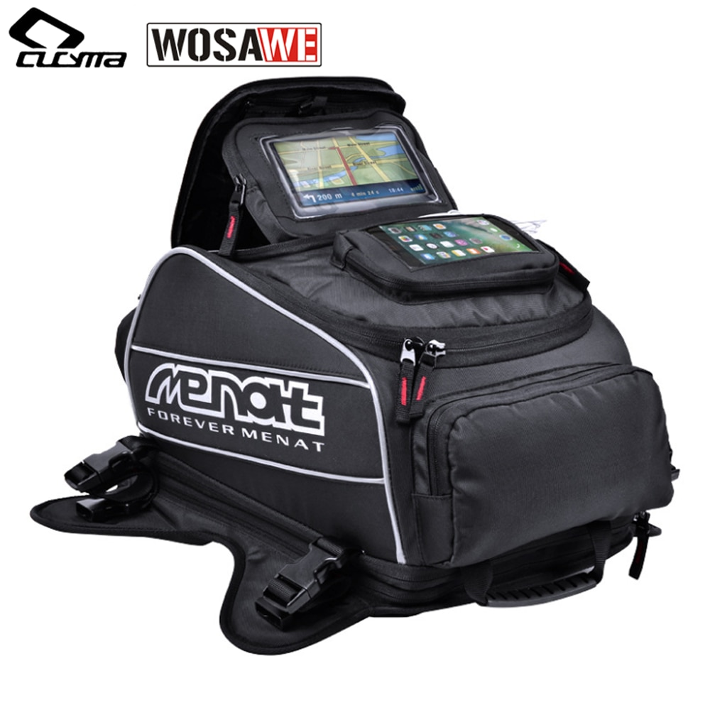 Bolsas magnéticas para motocicleta Menat, bolsas impermeables para tanque de combustible, mochila para casco de motocicleta, Moto, Motocross, equipaje de viaje, bolsas GPS para teléfono