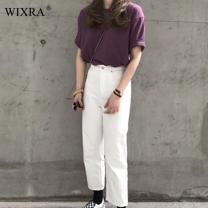 Wixra Hot Women Basic Tee Stylish Purple O-Neck T-Shirts Women Ladies Casual Womens Clothing 2019 Spring Summer