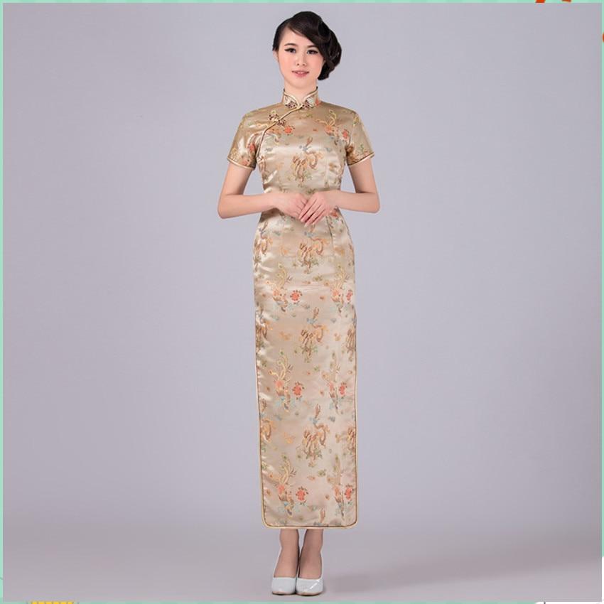 Vestido tradicional chino dorado de satén Qipao Dragon Phenix Cheongsam largo de talla grande s M l XL XXL XXXL 4xl 5xl 6xl LF-02