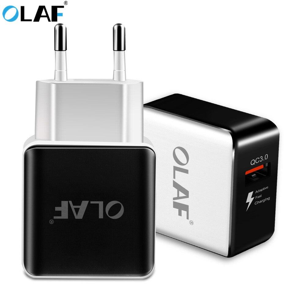 OLAF Quick Charge 3.0 Adaptador de Carregador USB Plug UE Início Carregador de Parede cabo De Alimentação De Viagem Adaptador De Carregamento Rápido Para iPhone Samsung xiaomi