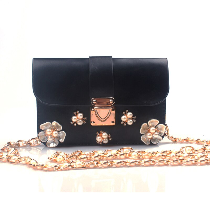 ¡NOVEDAD DE 2016! Paquete de perlas para teléfono, bolsos de mano para fiesta, bolso de mujer, bolso moderno de un hombro, bolso de flores para mujer