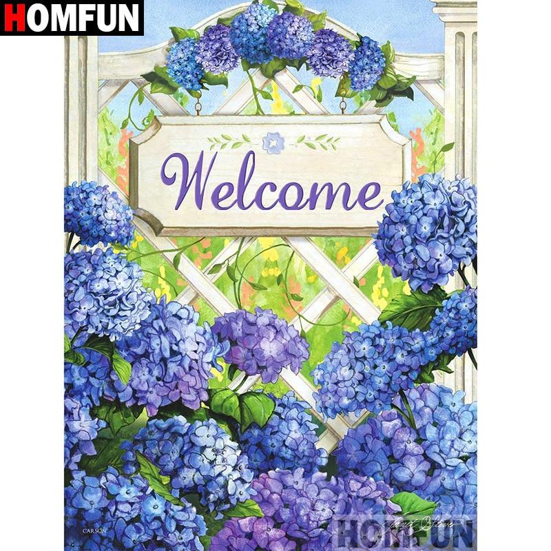 """HOMFUN taladro cuadrado/redondo completo 5D DIY pintura de diamante """"paisaje de flores"""" bordado punto de cruz 3D decoración del hogar regalo A12813"""