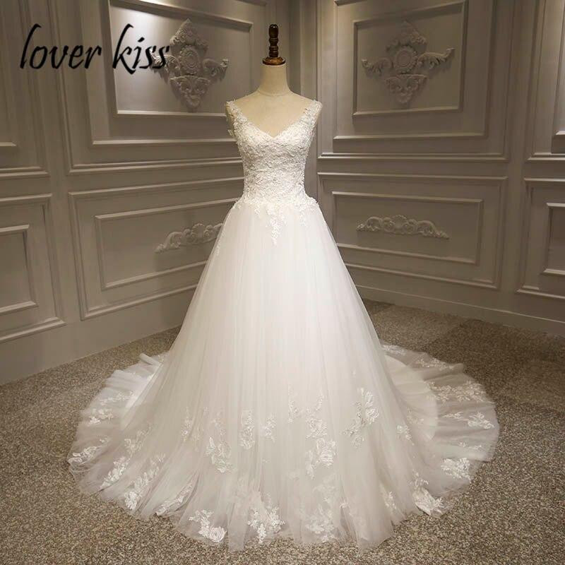 Lover Kiss Vestido De Noiva Boho Wedding Dress 2020 Lace Beaded V-Neck Plus Size Bohemian Bridal Gowns Robe De Mariee