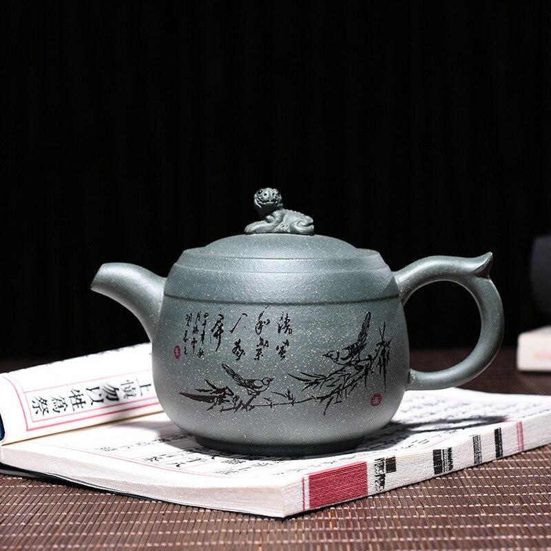 Чайник для чая Yixing Zisha, настоящий чайный чайник ручной работы из зеленой глины, грязи, лежа, тигра, кунг-фу
