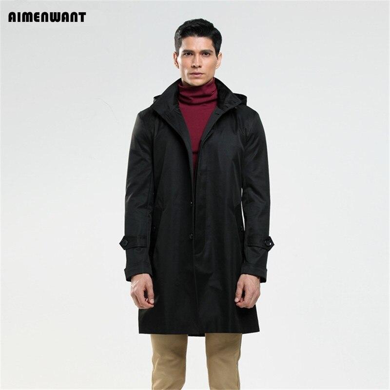 AIMENWANT-معطف واق من المطر بغطاء للرأس بصدر واحد للرجال ، معطف خريفي أسود إنجليزي ، ملابس خارجية ، 2017