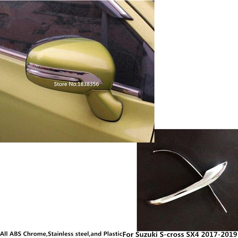 For Suzuki S-Cross Scross SX4 2017 2018 2019 2020  Car Body ABS Chrome Back Rear View Rearview Side Mirror Stick Trim Frame Lamp