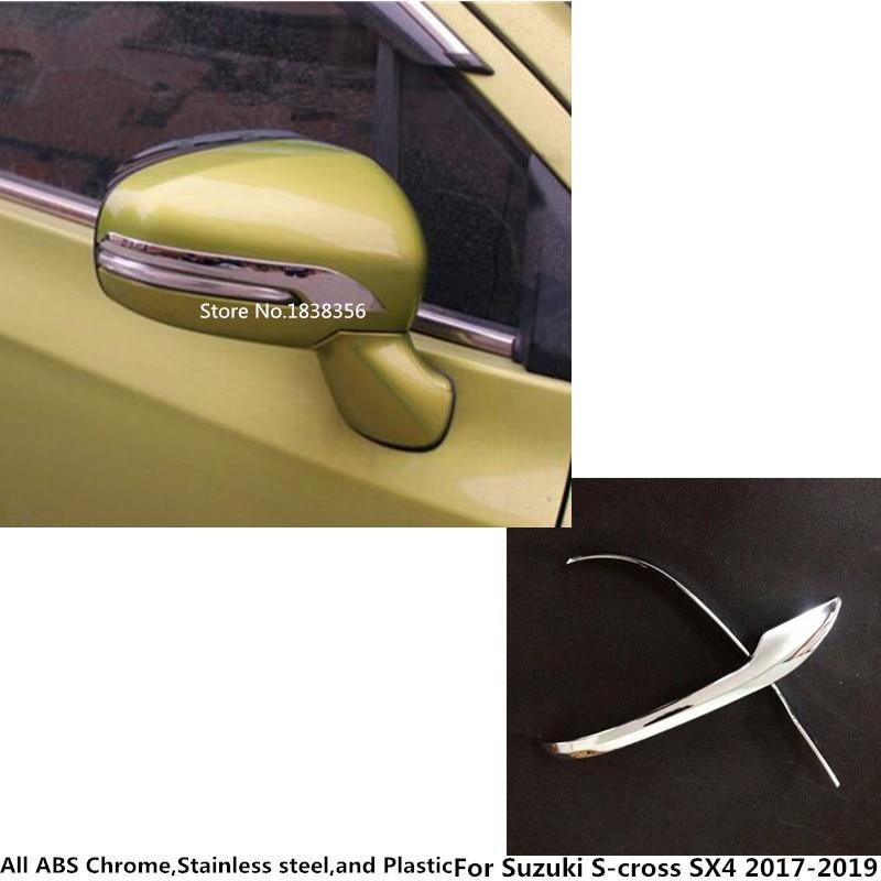 Para Suzuki s-cross SX4 2017 2018 2019 2020 cuerpo de coche ABS cromado trasero retrovisor espejo lateral embellecedor marco lámpara