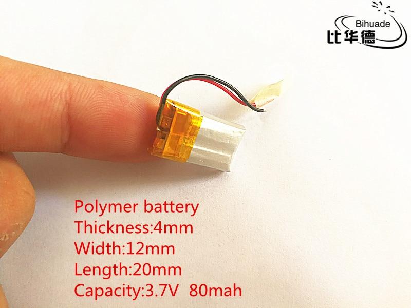 100 stücke 3,7 V, 80 mAH, 401220 PLIB; polymer lithium-ion/Li-Ion batterie für GPS, mp3, mp4, mp5, dvd, bluetooth, modell spielzeug mobilen bluetooth