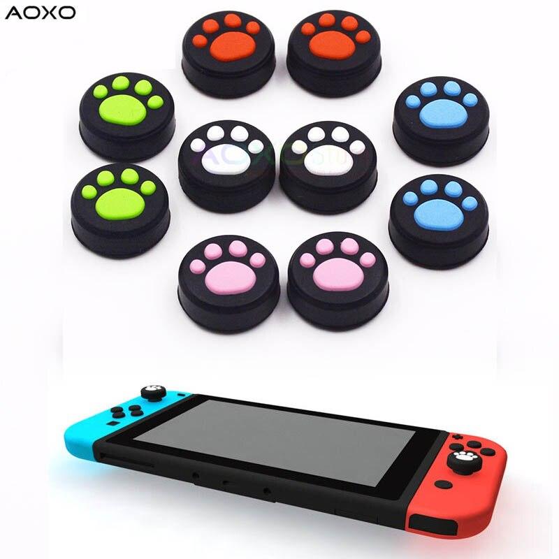 AOXO 2 uds gato pata antideslizante silicona pulgar Stick Grip Cap para Nintendo Switch NX NS Joy-Con controlador de juego