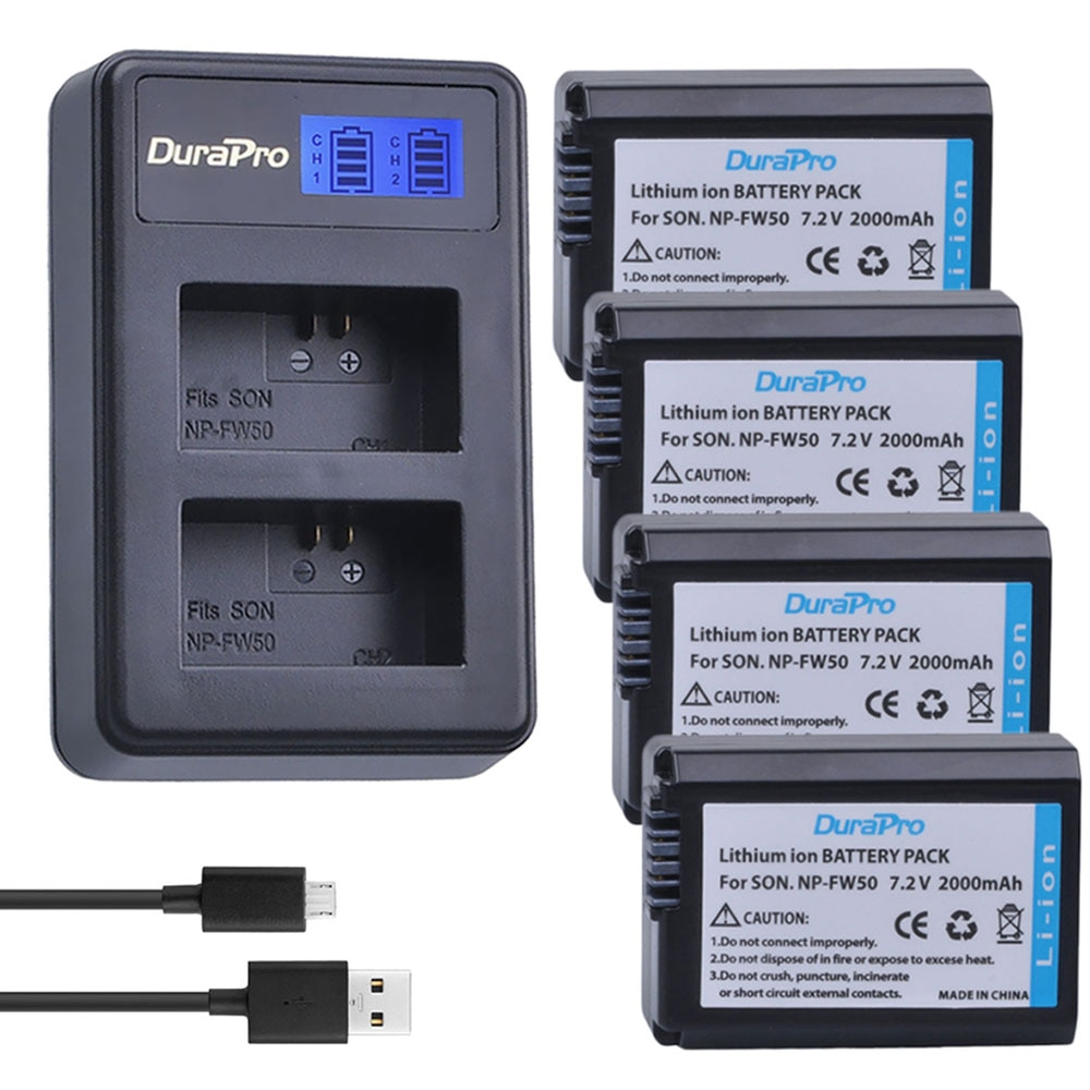 Batería de cámara NP-FW50 NP FW50 FW50 + cargador LCD para Sony...